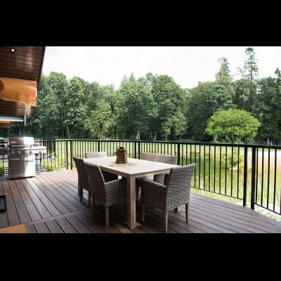 Luxury cabin patio with barbecue grill