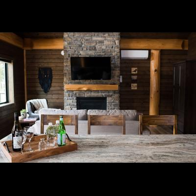 TV and fireplace at 2 bedroom cabin
